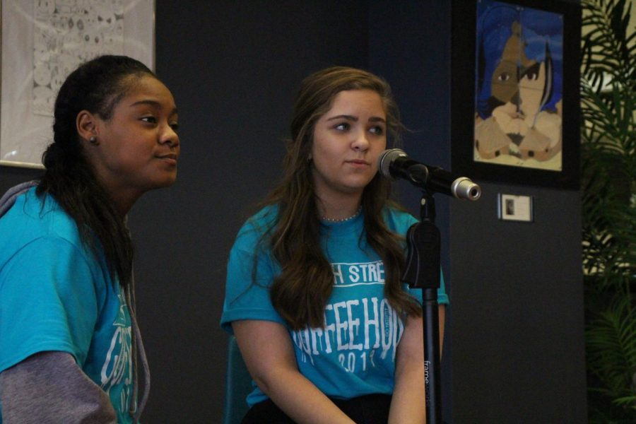 Senior Essence Green and sophomore Zoe Meier perform at the annual North Street Coffee House on Feb. 13 in the Learning Commons.