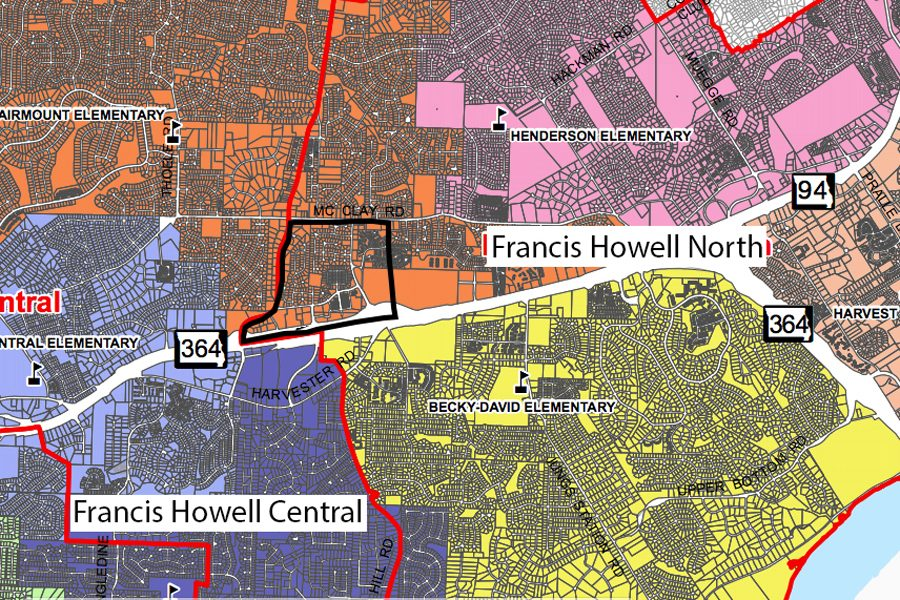 The current boundary map is adjusted to show which area will be affected. FHSD moved the neighborhoods between McClay Rd, Jungerman Rd, Harvester Rd and Highway 364.