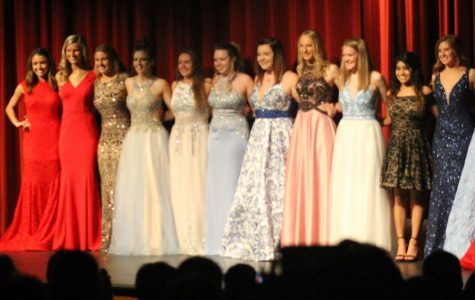 Prom Fashion Show participants line up for a photo during the 2018 show.