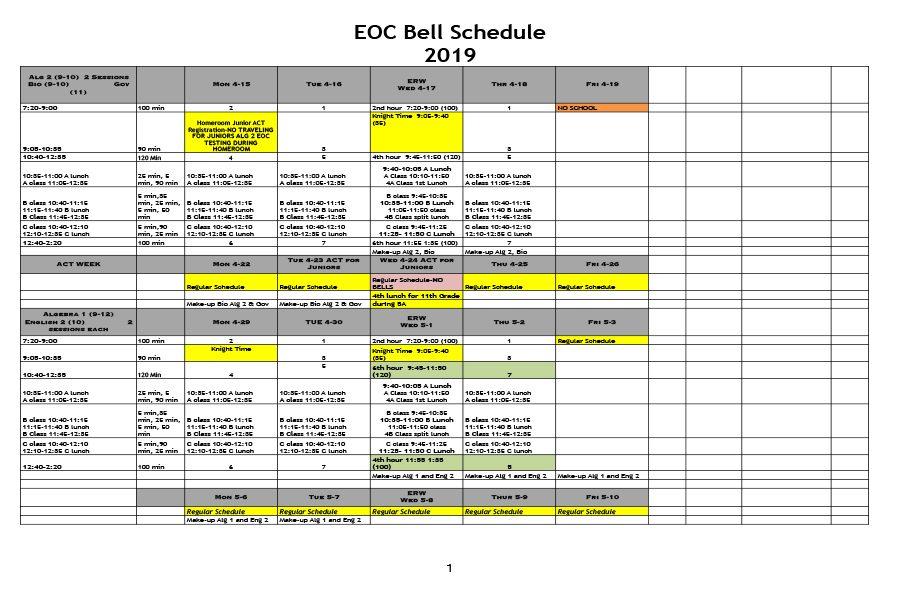 EOC Testing to Return on Monday, April 15