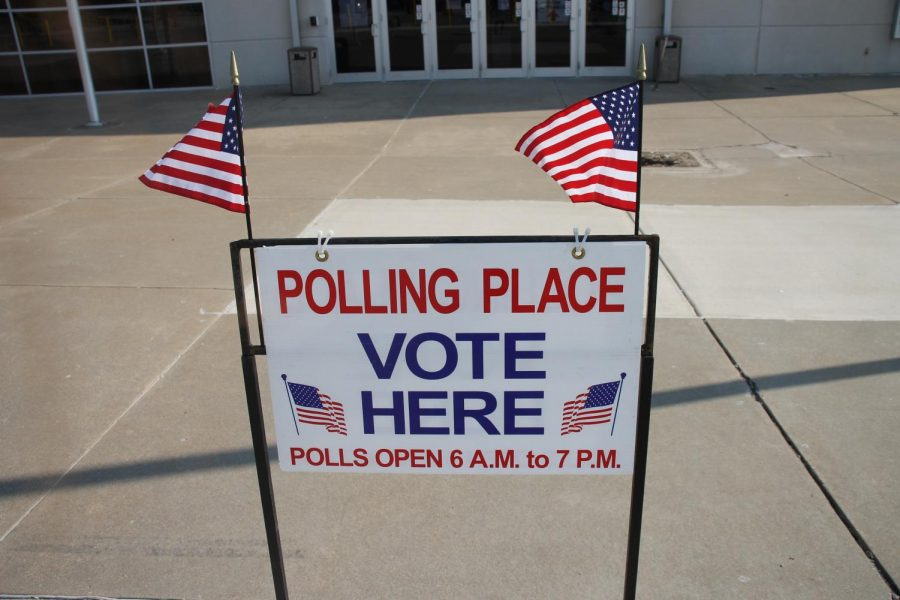 A sign sits outside the Family Arena to show voters where to vote. This type of election happens on odd years and is used to determine which candidates would be chosen. Many locals came to the Family Arena and casted their votes on April 2.