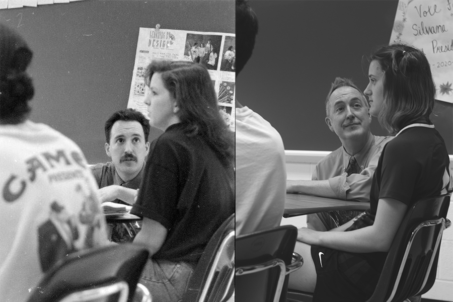 "[Left] French teacher Dave Fritz speaks to a student, this picture is from sometime in the 1980's. [Right] In a recreation of the photo from the 80's, Fritz poses with junior Phoebe Primeau. After teaching at Howell for one year, Fritz moved to North to teach for the next 32 years. ""My fondest memory of French was taking one of our largest groups and traveling to France, Switerland and Italy,"" Fritz said."