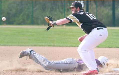 Junior Adam Lange catches ball at first base in game against Troy.