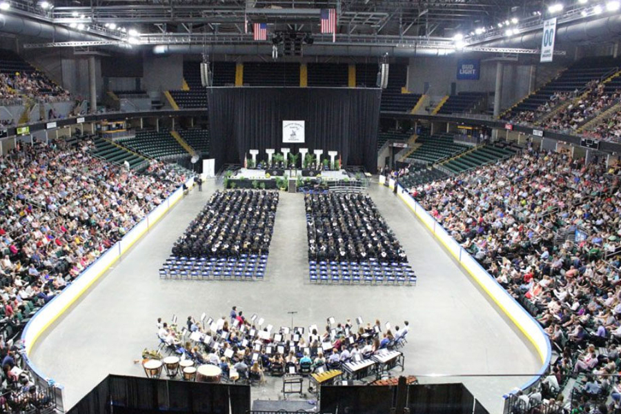 Students, friends, family, teachers and Administration gather inside the Family Arena for the graduation of the FHN class of 2018. Students this year are given 15 tickets to give to family and friends who wish to attend. Concessions will be sold in the concourse. Suites are being sold by the Family Arena this year. A 12-person suite will cost $260 while a 24-person will run $520. Families can reserve suites by calling 636-896-4211.