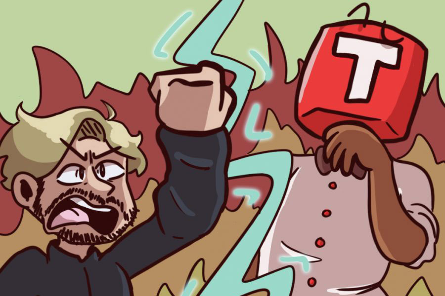 Historic photo of Felix Kjellberg battling Demon Lord T-Series to the death in a ring of fire. (Illustration by Lily Sontheimer)
