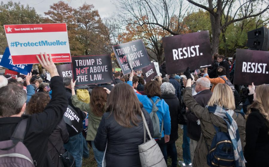 WASHINGTON, DC - NOV 8, 2018: Demonstrators protesting Pres.Trump's appointing Matthew Whitaker acting attorney general as attempt to end Mueller investigation; White House, part of national protest - Image