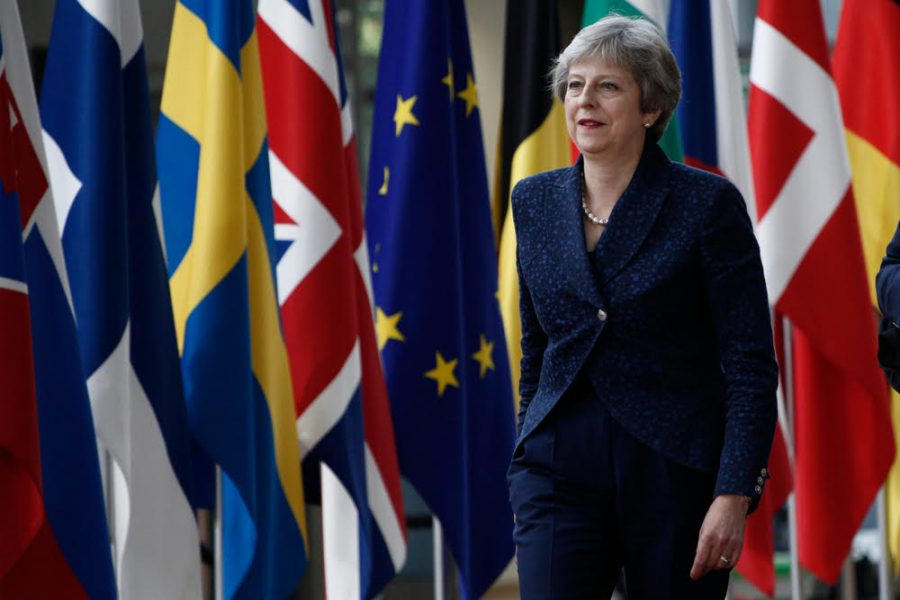 Brussels, Belgium on Jun. 28, 2018. Prime Minister of the UK, Theresa May arrives for a meeting with European Union leaders. - Image