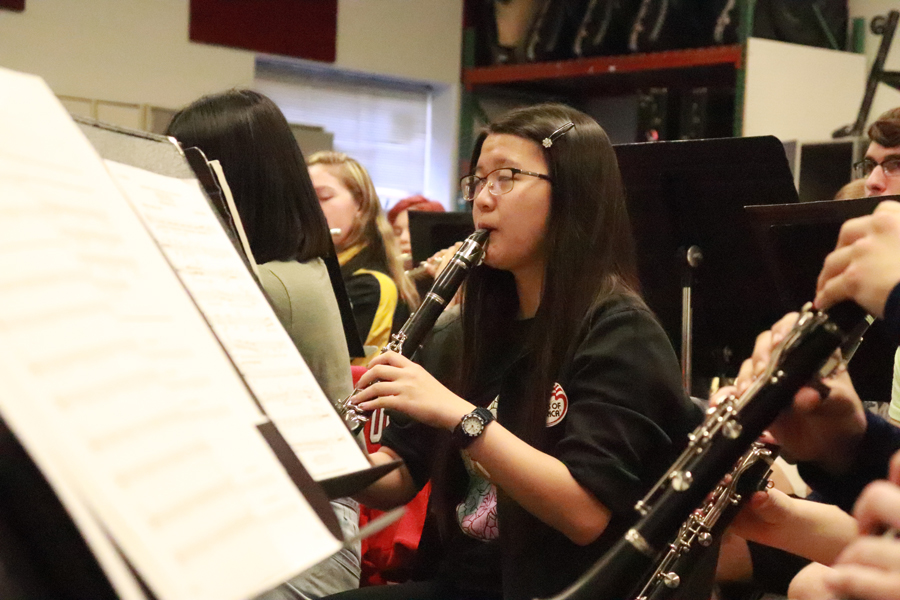 "Senior Arianna Chaves plays ""Vesuvius"" in symphonic band. Chaves has been a member of the band program for all four years of high school. She has participated in the marching band for four years, the symphonic band for three years and the concert band for one year."