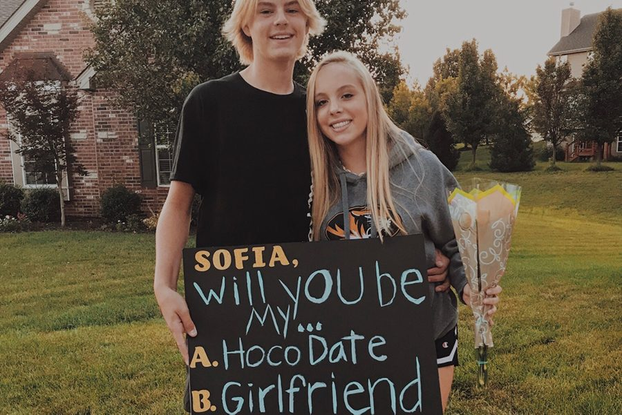 (Photo submitted) Jack Freeman asks Sofia Jansen to homecoming. Freeman is pleased by Jansens reaction.