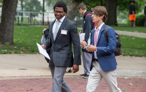 Senior Will Schellman walks with a fellow student to the second drafting legislation at Missouri Boys State. Missouri Boys State is sponsored by the American Legion. There is also a separate program for girls sponsored by the American Legion Auxillary. (Photo submitted)