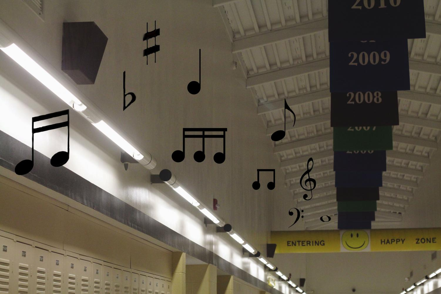 """During the school day, music plays over the intercom for students walking through the halls. Songs can range from country to rap, as long as it's school appropriate. """"It's a good idea and people being able to recommend songs is cool,"""" junior Brandon Bridgeman said. (Photo illustration by Addy Bradbury)"""