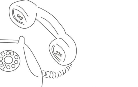 Illustration of a rotary phone. Black and white. Drawn using Adobe illustrator.