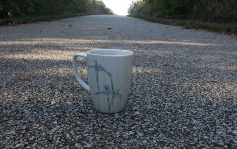 A mugful of hot chocolate sits on a trail that thousands run on every year. The Hot Chocolate Run is an annual choice of a 5k or 25k and is hosted by the insurance company, Allstate.  (Photo by Pavan Kolluru)