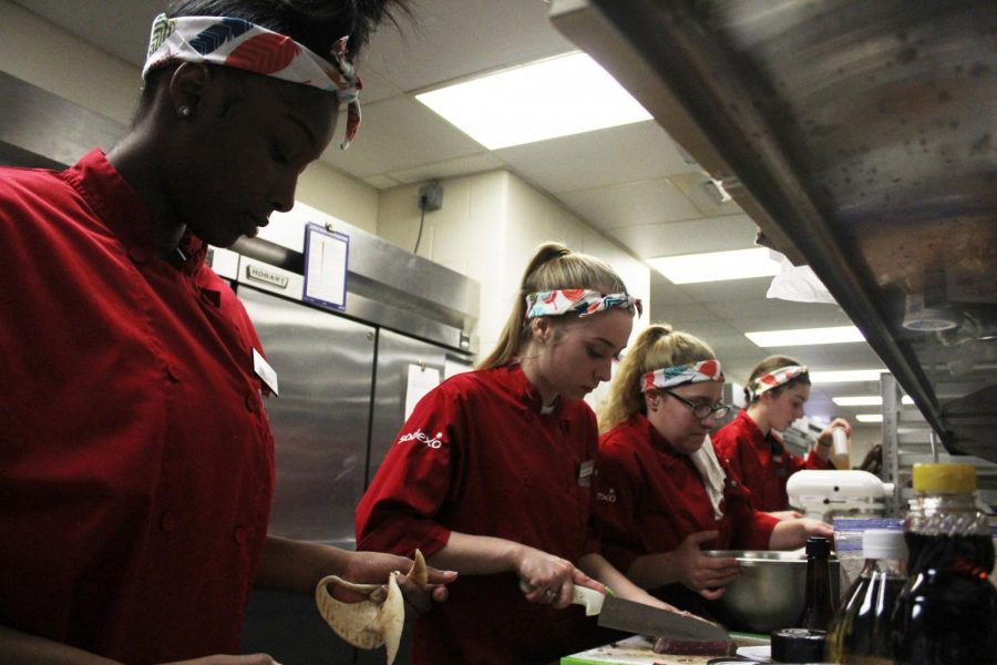Seniors Jada Moody, Addison Lee, Emily Just and Cami Gonzalez prepare their meals for the competition.