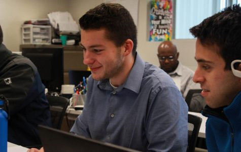 Senior Tanner Burke works on a project at CAPS. Students enrolled in CAPS are given many resources to learn new skills and develop their talents. Some resources include the Adobe Creative Suite and online learning programs like Grok Learning and Pluralsight.