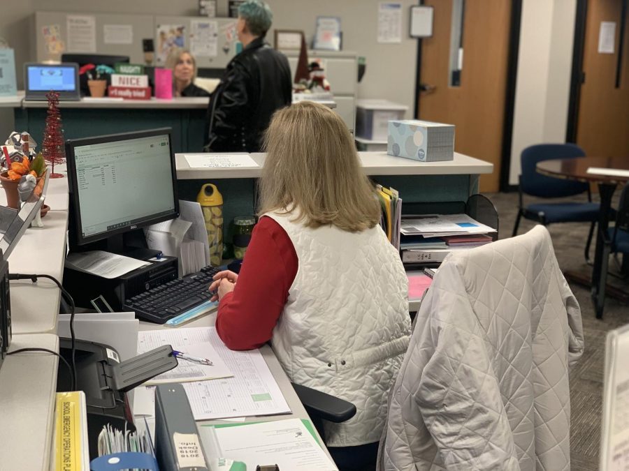 Mrs. Patti Balch, who is the administrative assistant for students with last names beginning with Mc-Z, converses with people in the morning. Aside from handling matters such as  important paperwork for students, they also manage sending students to the counselors, which keeps the office running.