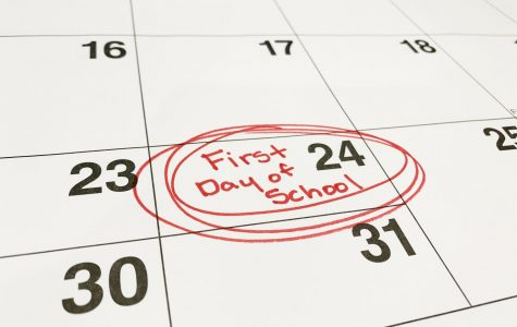 A calendar marks the first day of school, the earliest possible date in accordance with a new Missouri mandate. Because this decision was made with regard to summer tourism instead of to students and school staff, it has been a source of controversy in the state. (Photo by Aidyn Gleason)