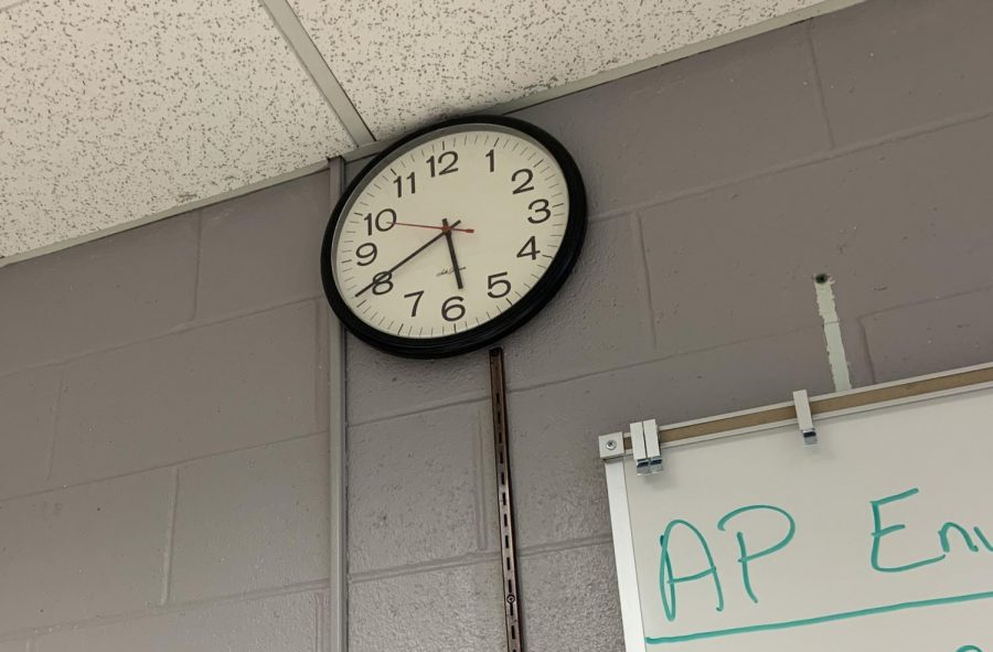 The clock ticks during second hour. The schedule was changed to fit more lunch shifts and virtual learning.