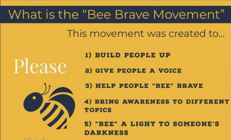 The Bee Brave Movement is a social media account started by Madi Tierney that advocates for suicide awareness. (Photo taken from account)