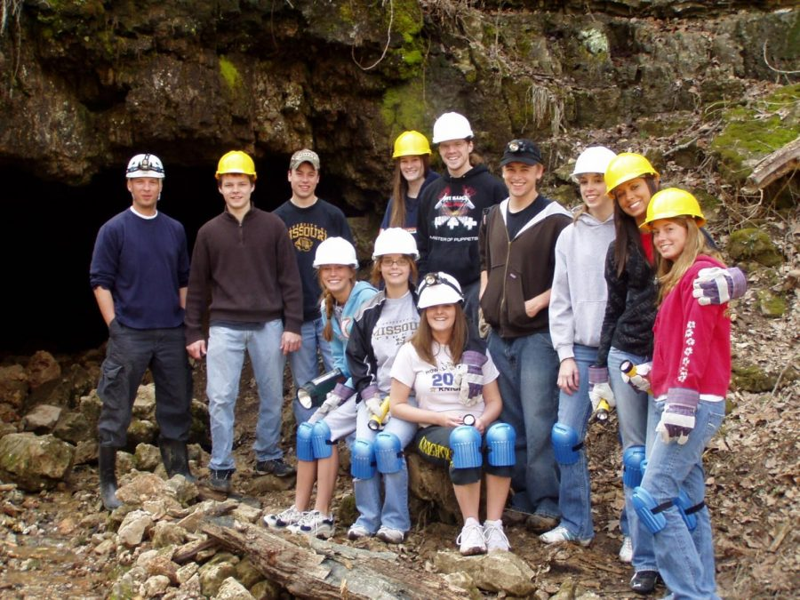 The ecology club led by Joe Brocksmith goes spelunking at Meramec State Park in 2009.