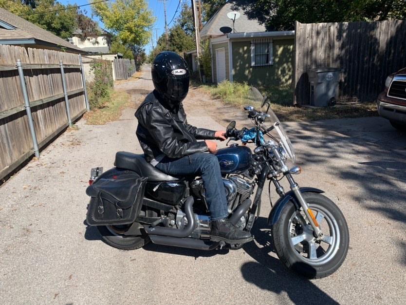Senior Charles Kulage Rides a Motorcycle to School