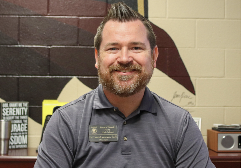 New principal, Dr. Lucas Lammers poses for a photo at FHN