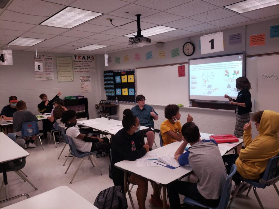 New teacher Jennifer Martin teacher her class full of students