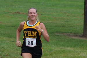 On Friday, Aug. 26, Anastasia Krasun competed in the First Capital Cross Country Meet for their first meet of the season. The JV boys and girls ran together in a 5K race around the park at 5:15 p.m. Clayton High School took first place. (Photo by Alex Rowe)