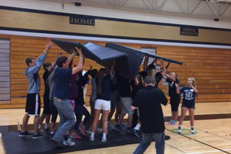 Students from FHN, FHC and Francis Howell participate in team building games during the recent leadership conference held at FHN.