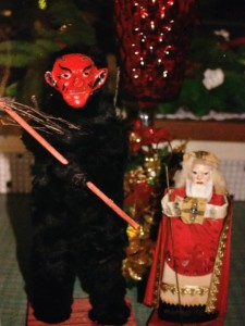 Decorations for Krampusnacht, a holiday similar to Christmas on Dec. 6.