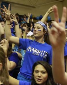 "Senior Deann Krufal chants her class number, ""1-3."" (photo by Murphy Riley)"