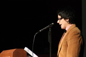 """Sophomore Skylar Hardester gives her speech about being transgender during the 3rd hour assembly. One of Hardester's lines during the speech was """"My person defines my personality, not my body."""""""