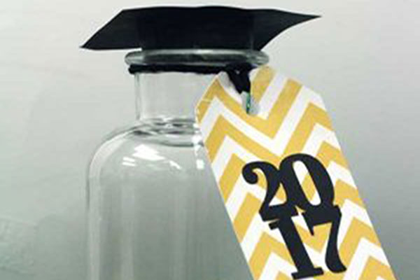 The finished graduation jar sits on a table.