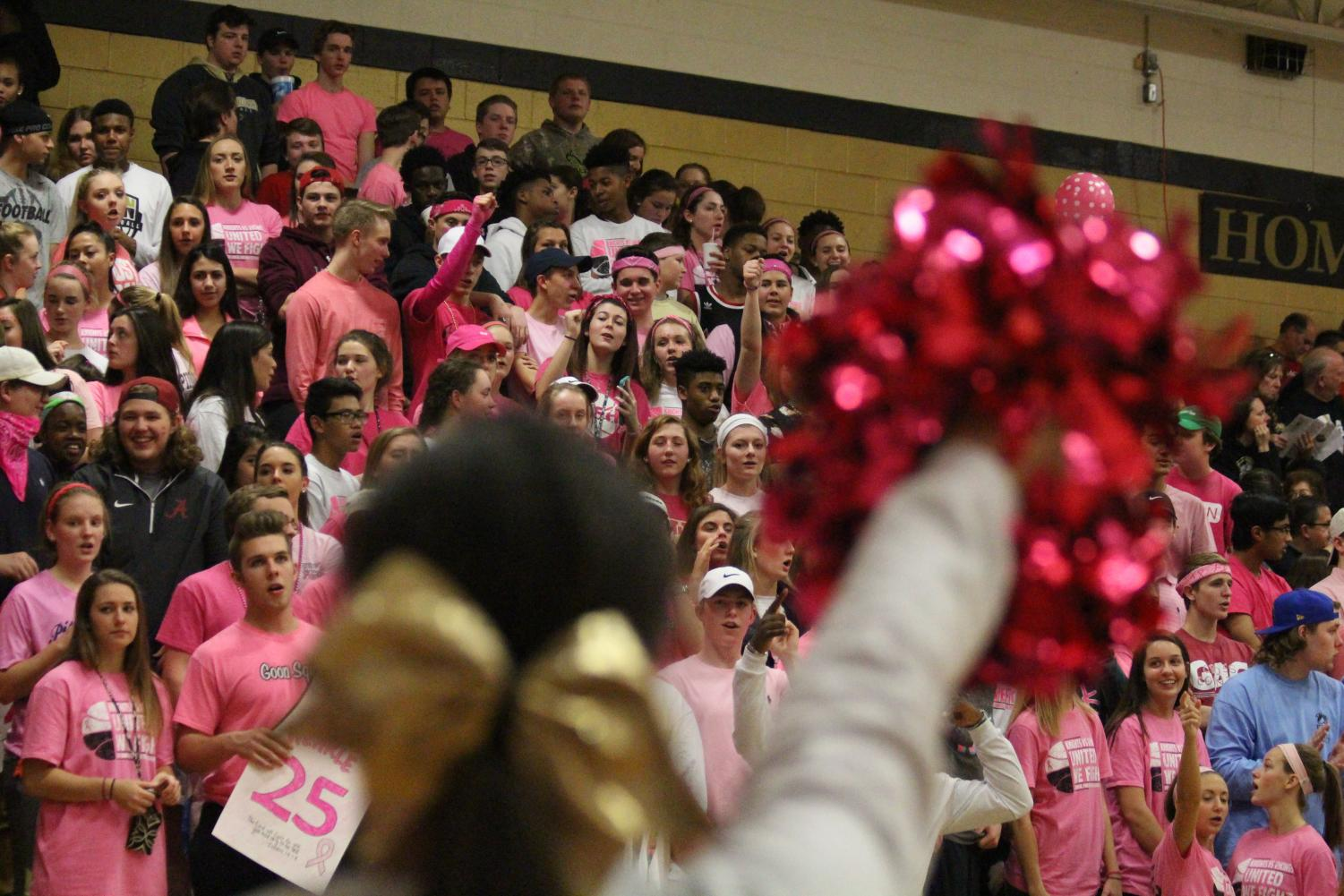 Katherine Brooks cheers during Pink Ribbon  game against Howell on February 9