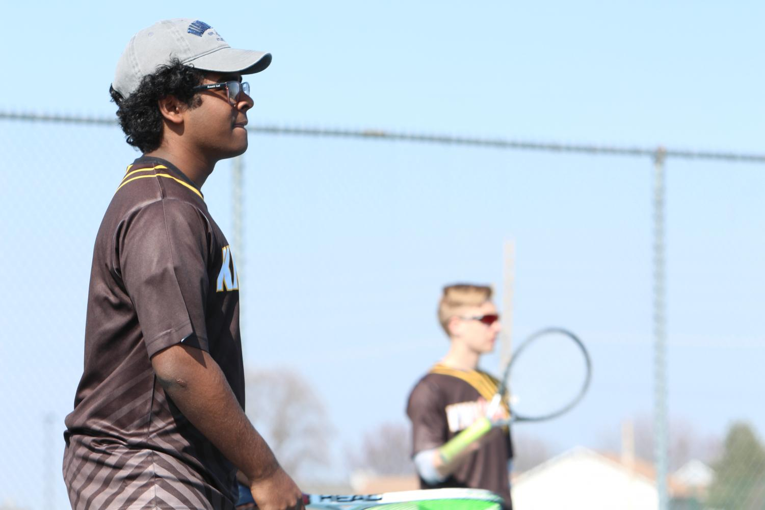 Ronald Joel prepares for a serve along side partner Tyler Winner in a 4/10 match against Parkway South.